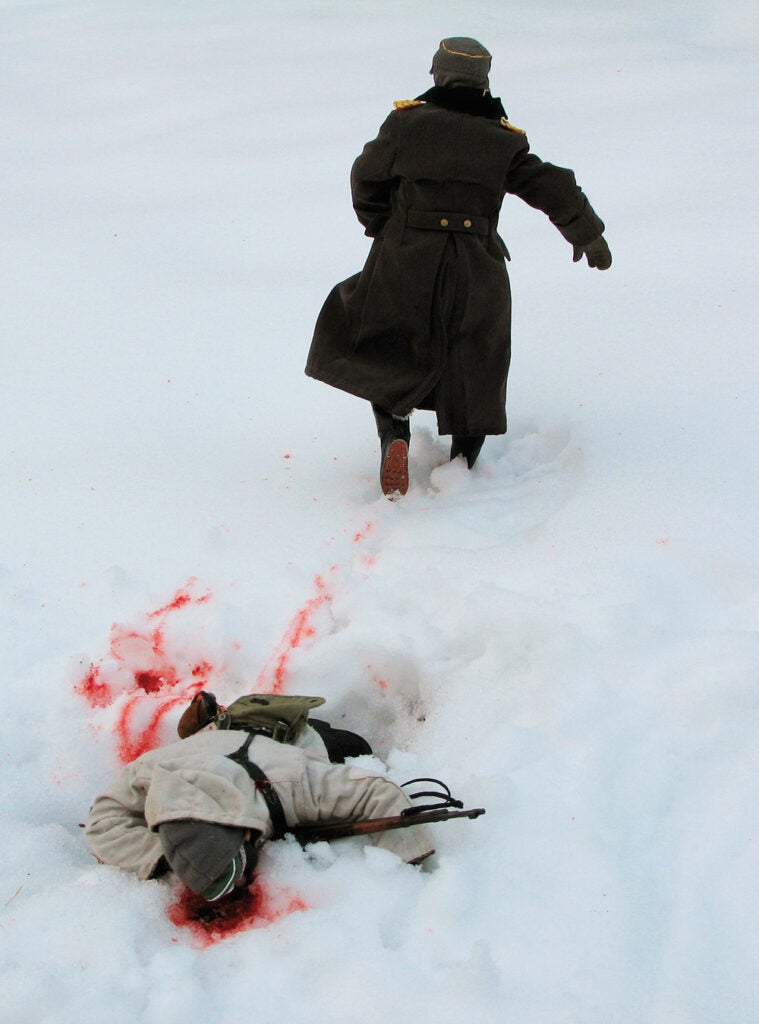 dead soldier in the snow