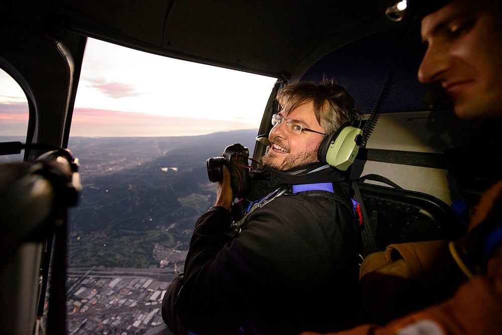 Vincent Laforet in a helicopter
