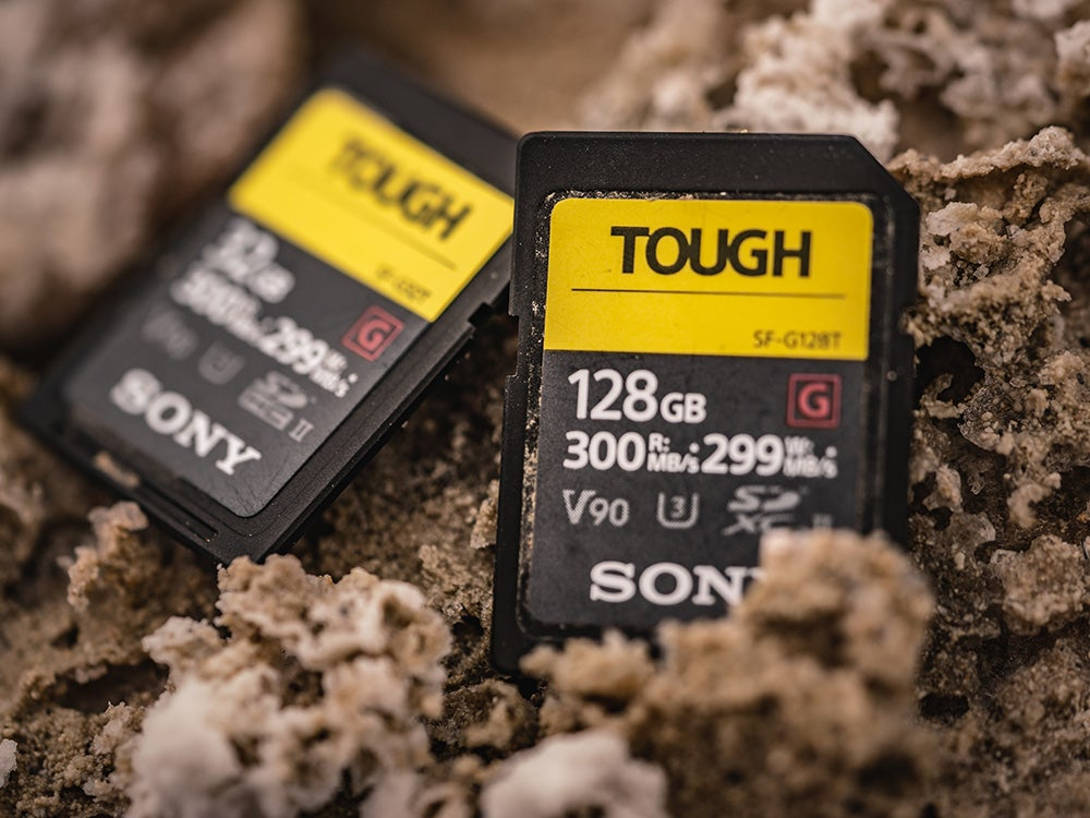 sony tough sd card in the dirt