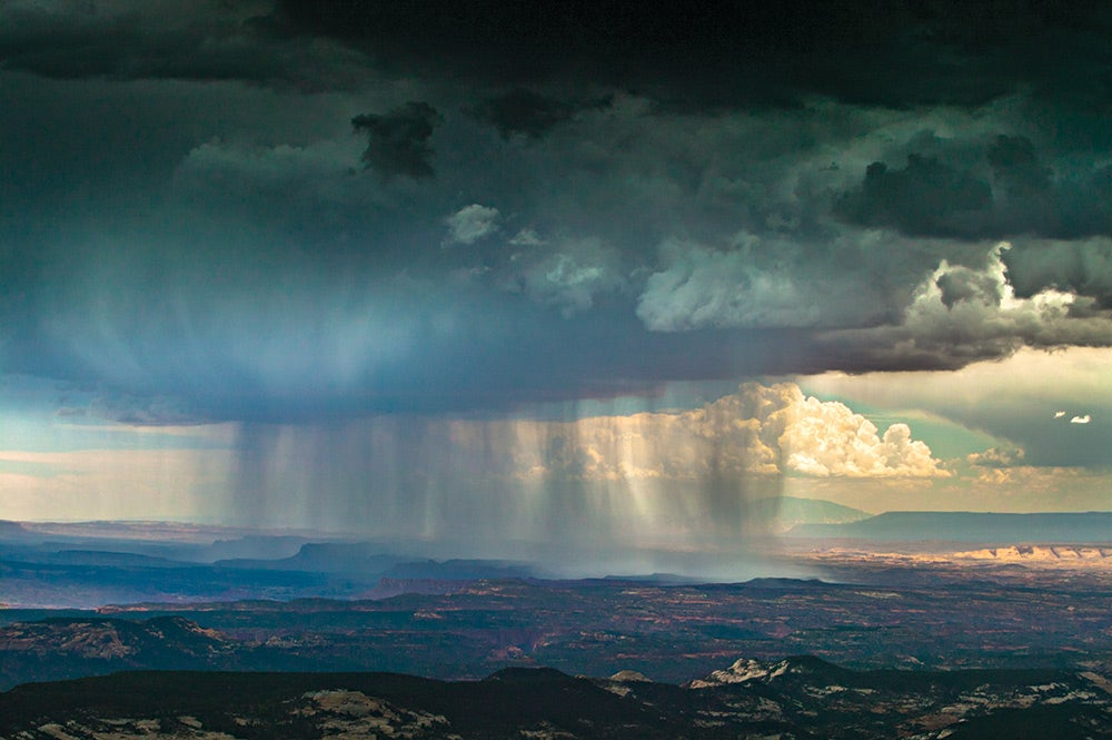 Downpour from above in the Canyonlands Utah