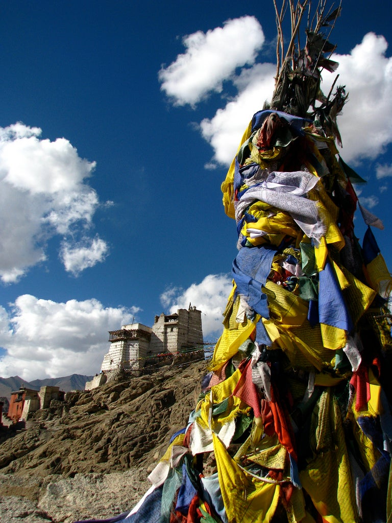 Wide-angle views of elevated monasteries