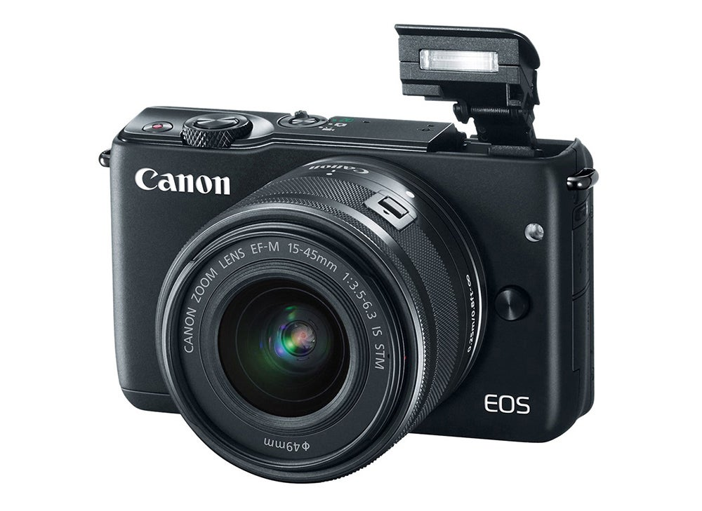 Canon EOS M3 mirrorless camera with flash