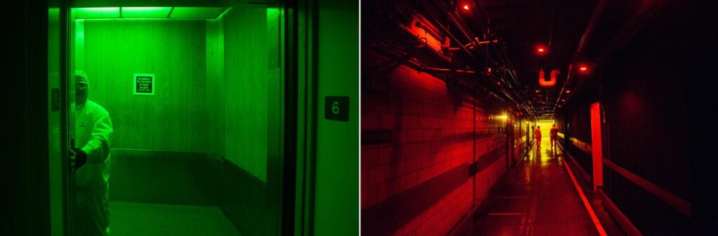 green and red dark rooms