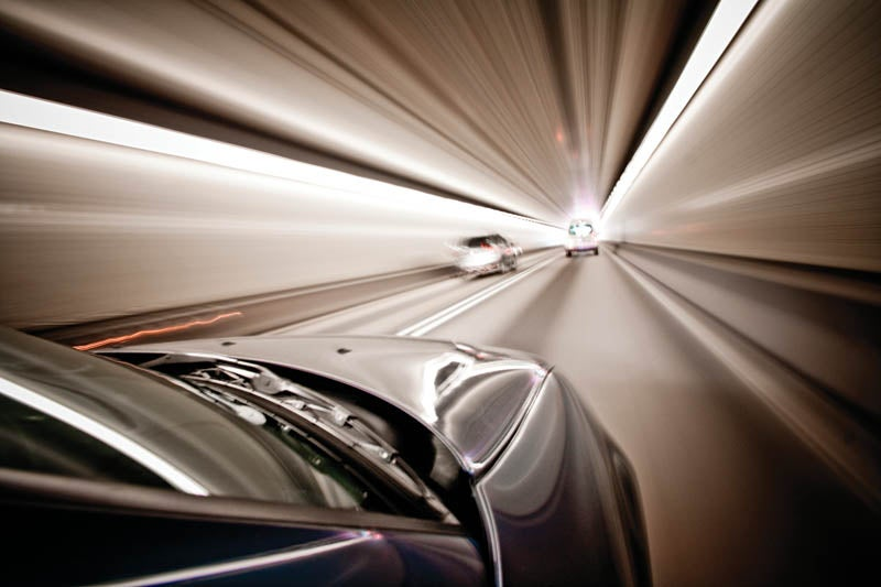 photograph in a tunnel in moving vehicle