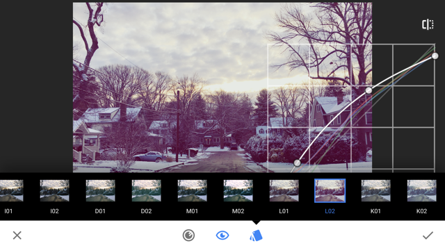 Snapseed photo editing app with curves
