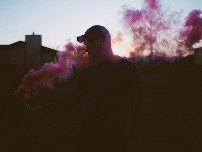 pink smoke in the sunset