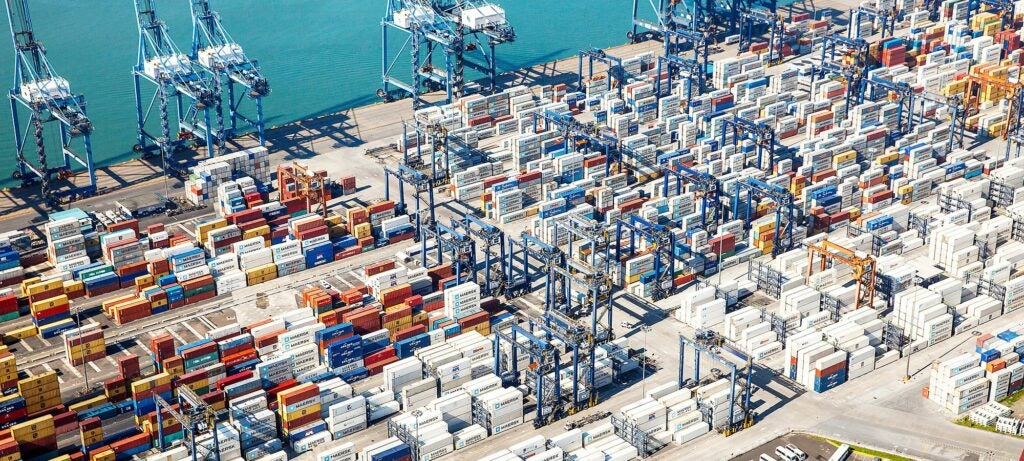 Aerial view of the Port of Balboa Ship to Shore Cranes