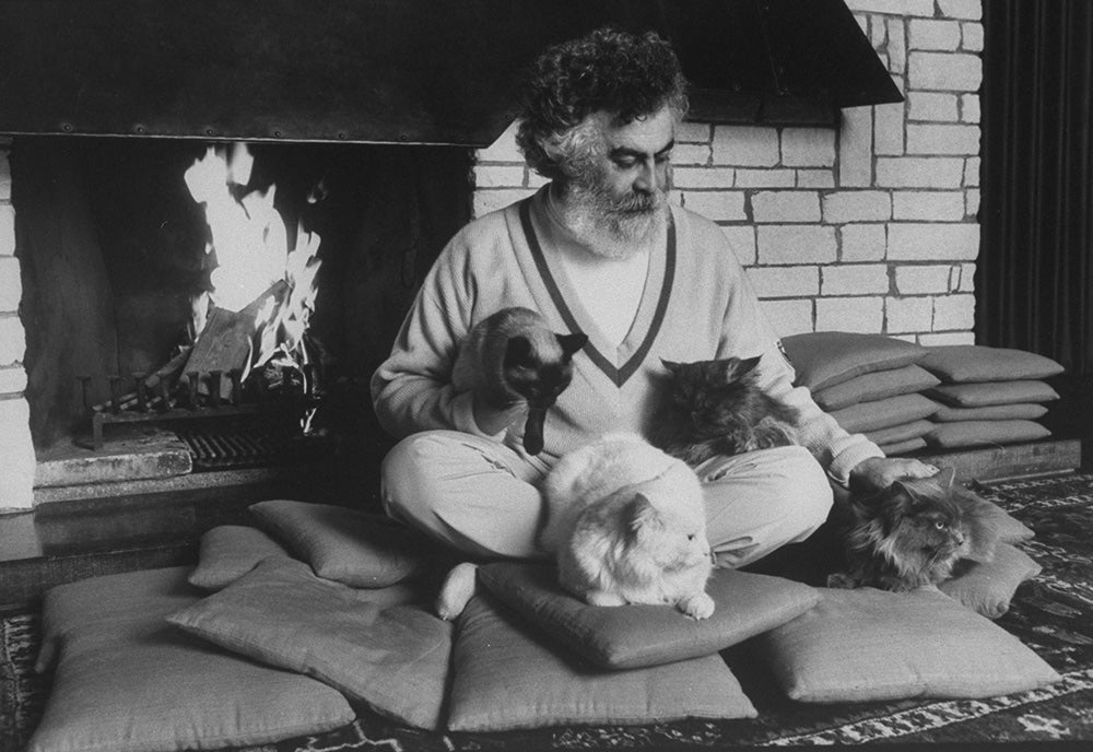 Armando Acosta with cats by the fireplace