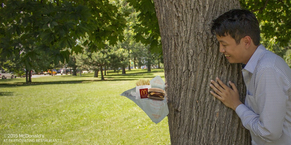 McDonald engagement shoot with french fries
