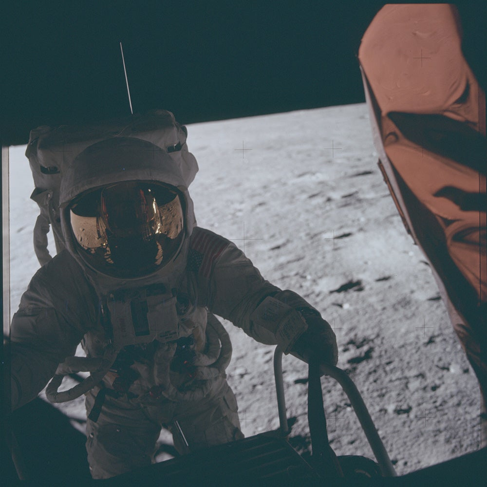 astronaut on the moon in color