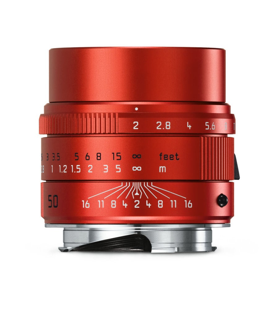 Leica APO Summicron-M 50mm f/2 ASPH Lens in bright red