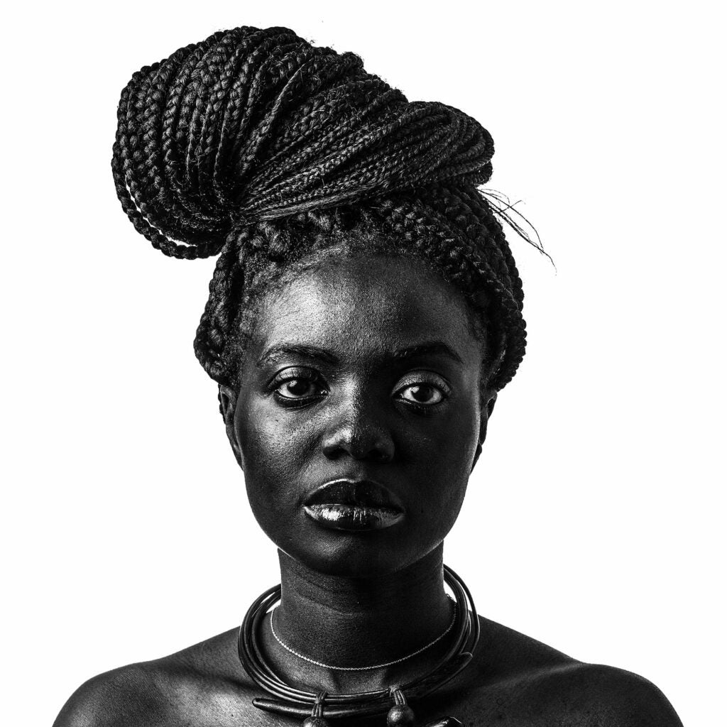 Ima Mfon liked the way black and white brought out the texture in this subject's tresses.