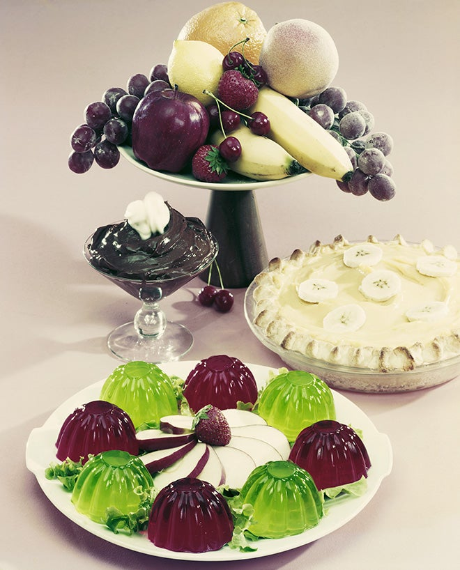 Desserts with fruits on white background
