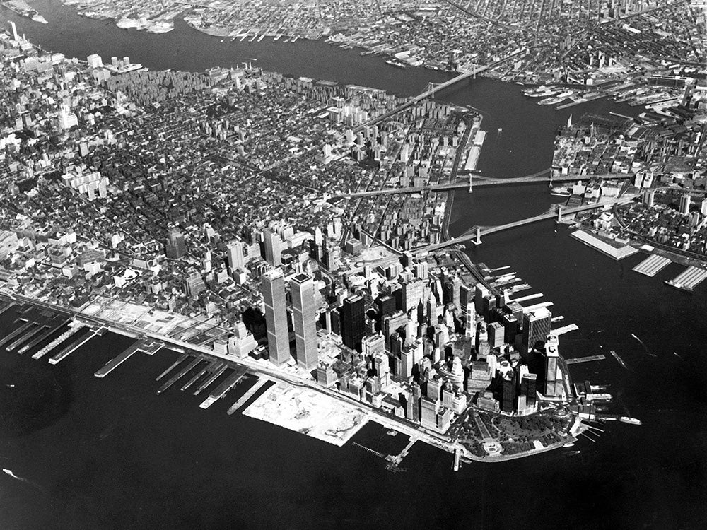Twin towers aerial view