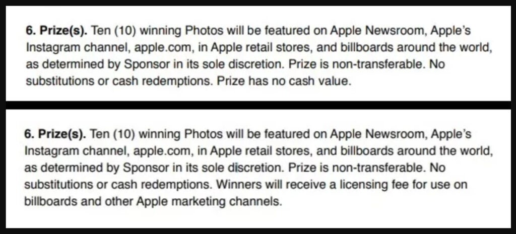 iphone photo contest terms of service