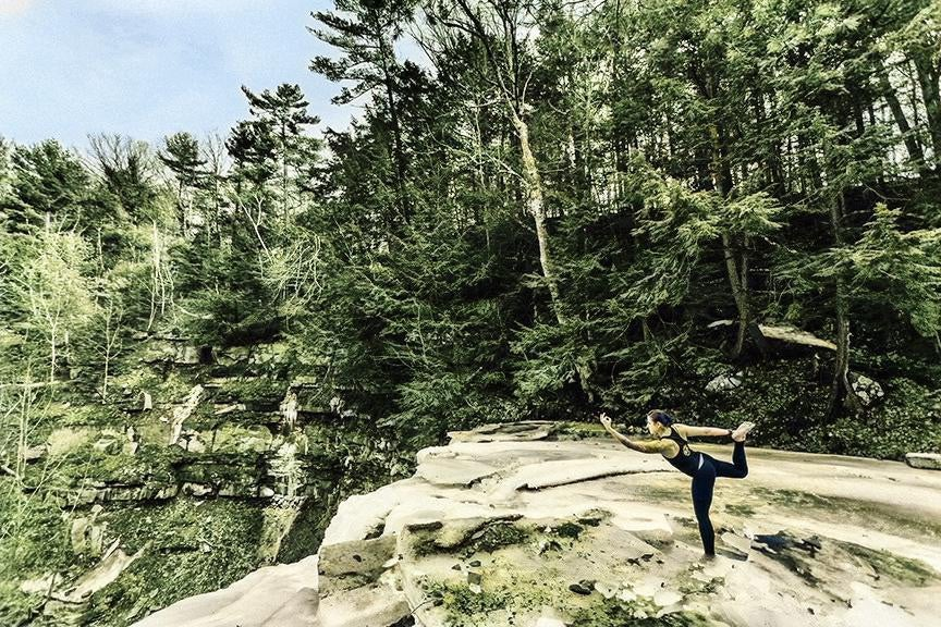 Yoga in nature photo colorized