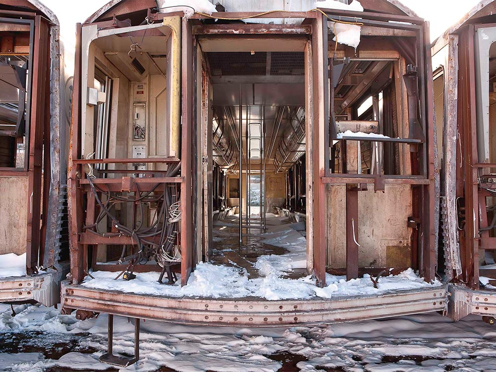 a gutted out subway train car