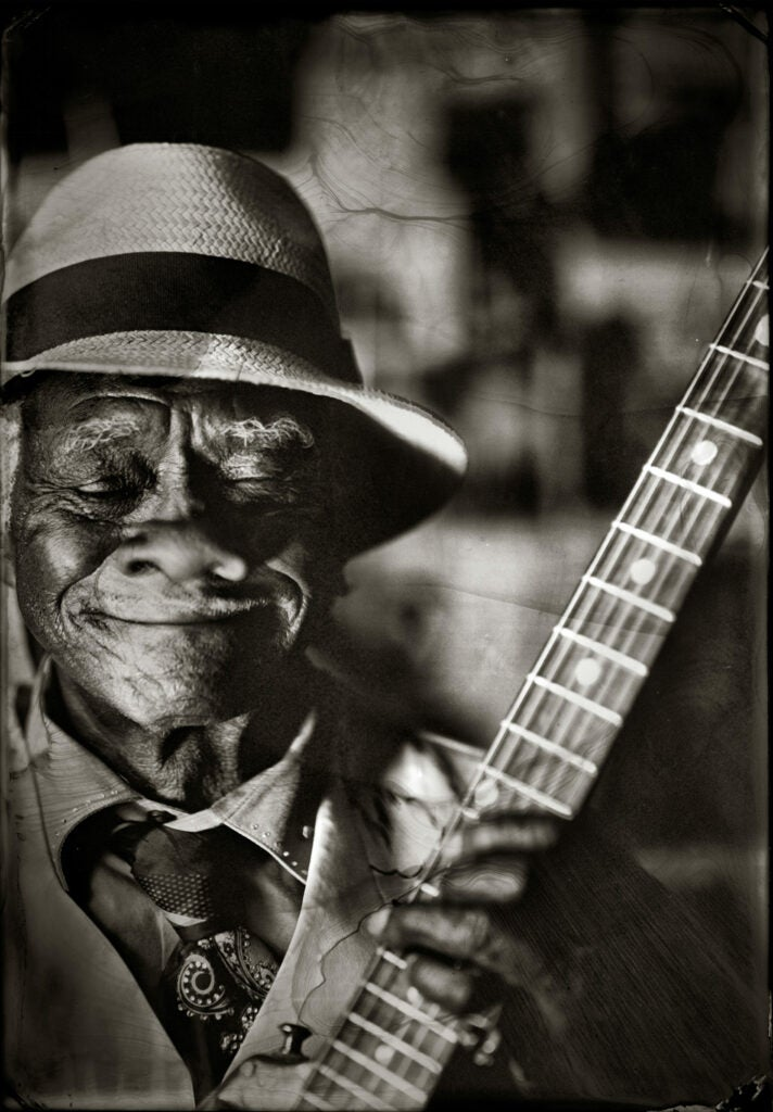 Little Freddie King with his guitar