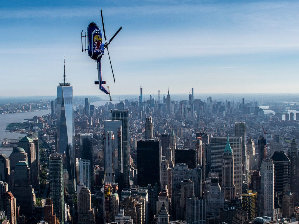 red bull helicopter acrobatics over NYC