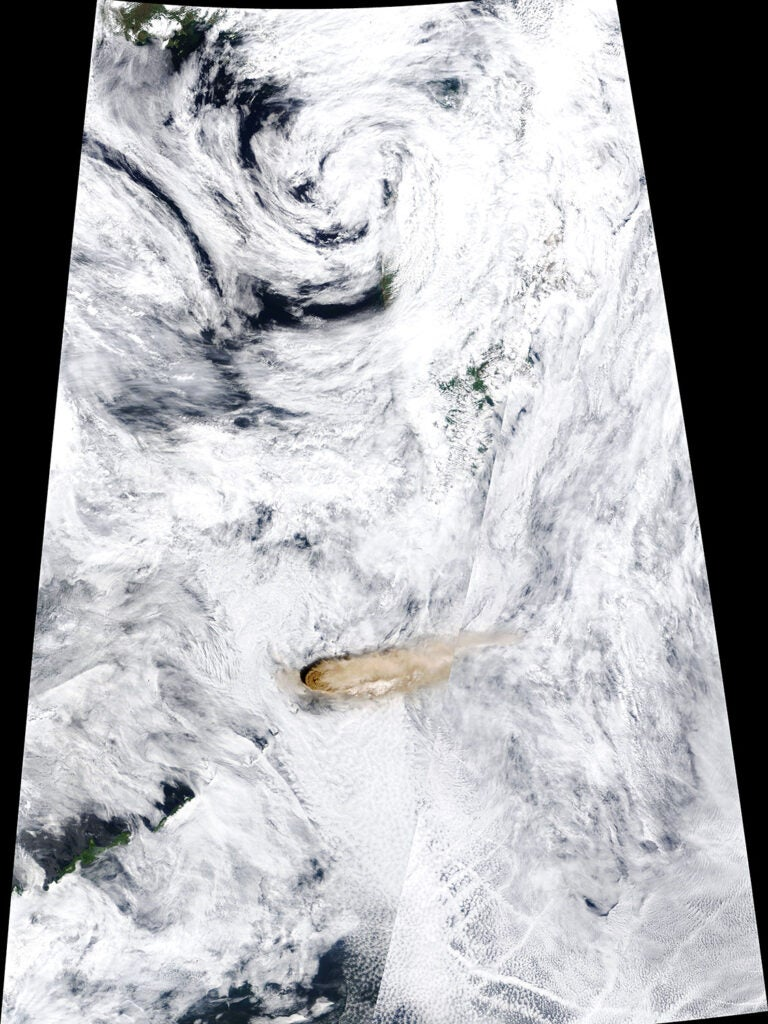 The eruption of Raikoke seen from space