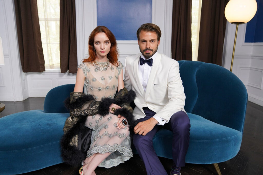 portrait of dressed up couple on couch