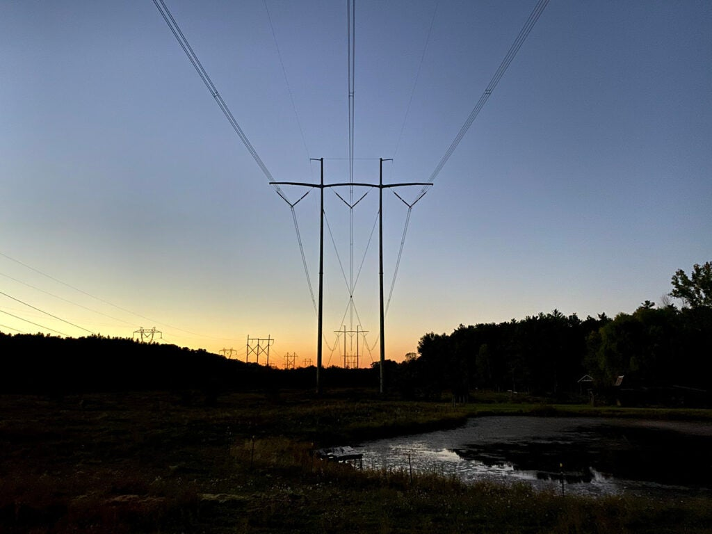A powerline at dusk
