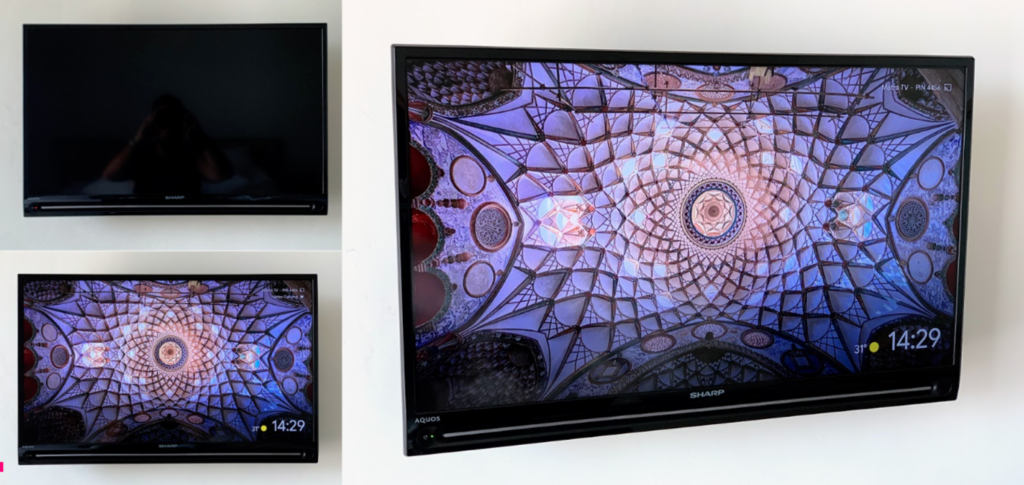 three views of smarttv with psychodelic design on the screen