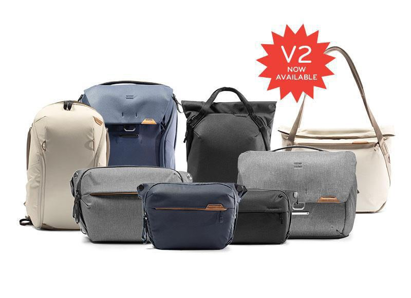 The complete line up of Peak Design Everyday Bags version 2.0