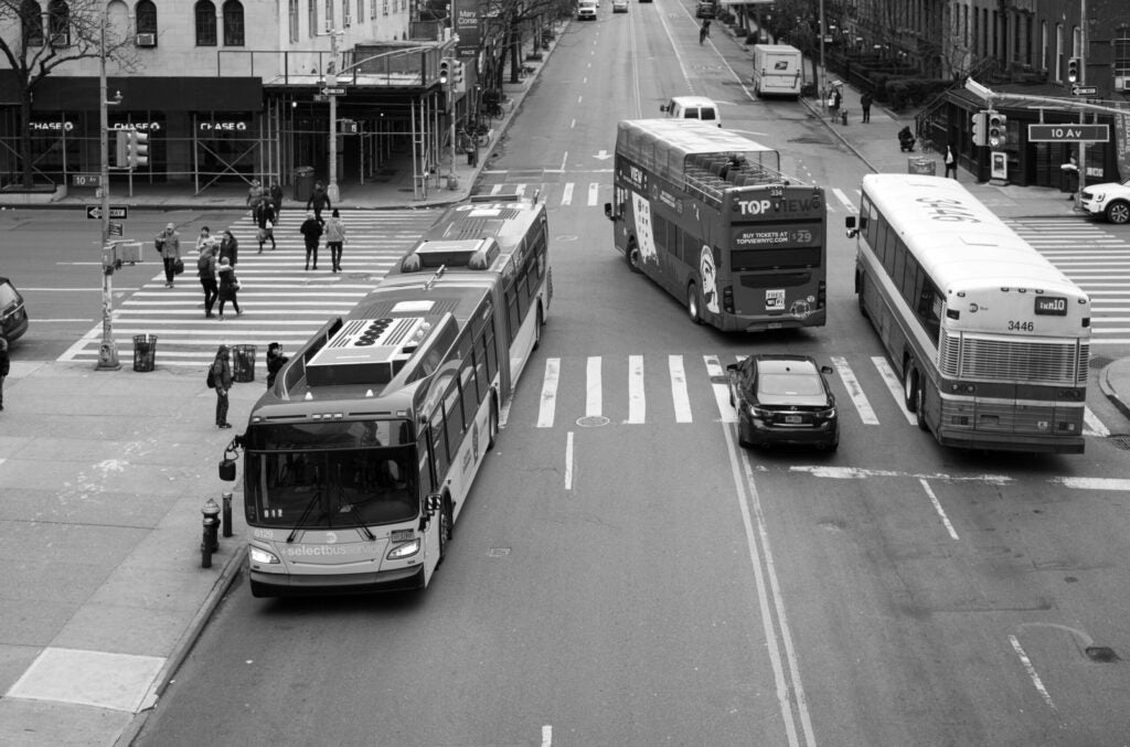 busses in busy traffic