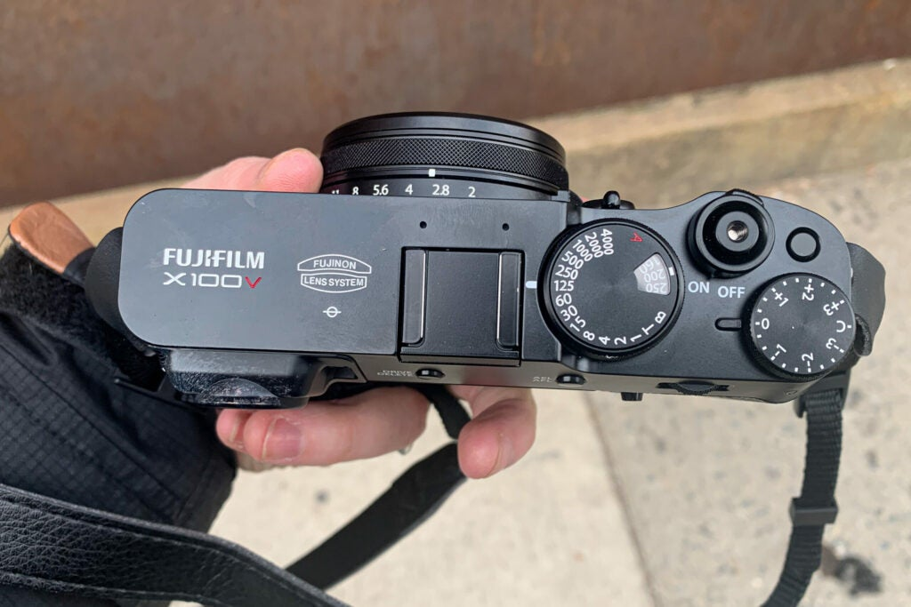 The dials on the top of the Fujifilm X100V