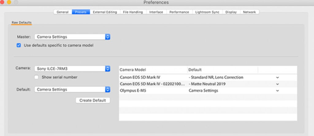 importing RAW images in Adobe Lightroom