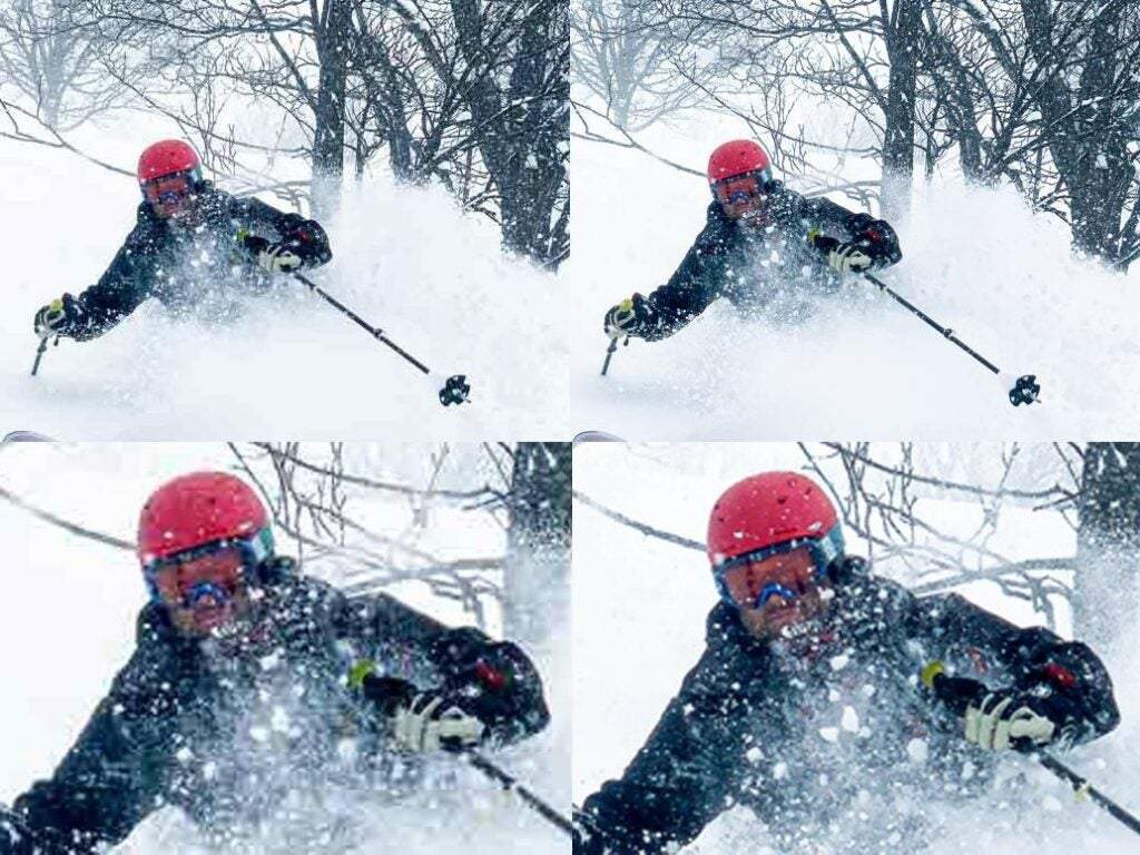 a comparison of photo compression on a photo of a skiier