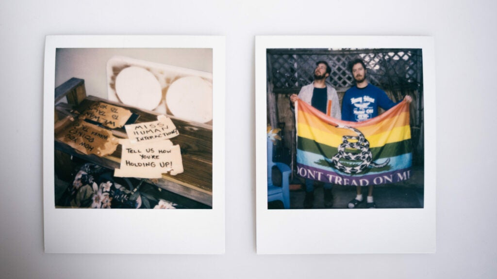 Post it notes and rainbow flag
