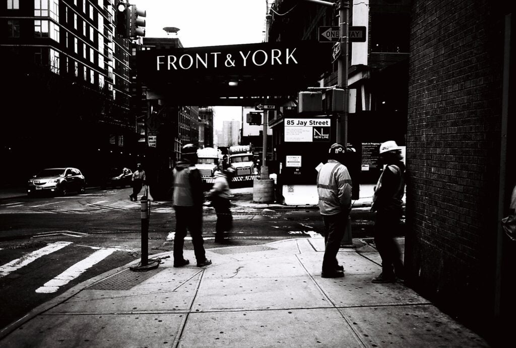 Front & York sign in black and white