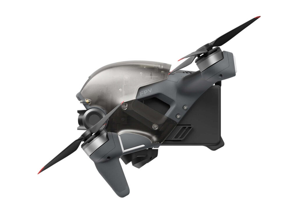A side view of DJI's new FPV drone.